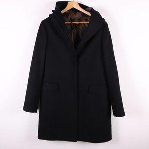 DANIER 60% Wool Black Hooded Coat
